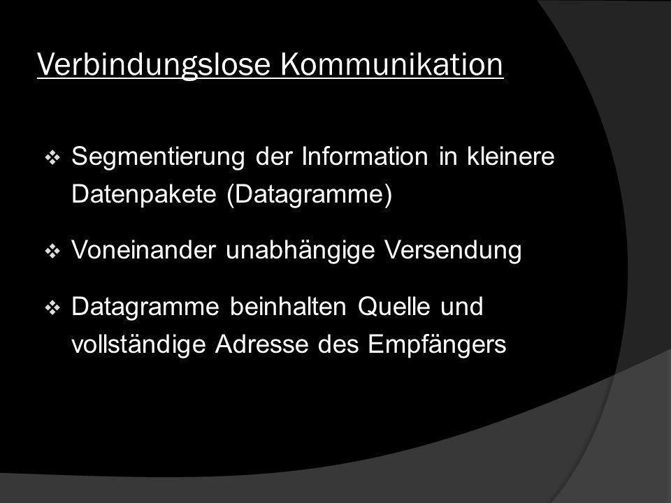 Verbindungslose Kommunikation Segmentierung der Information in kleinere Datenpakete (Datagramme) Voneinander unabhängige Versendung Datagramme beinhal