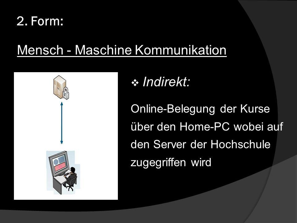 2. Form: Indirekt: Online-Belegung der Kurse über den Home-PC wobei auf den Server der Hochschule zugegriffen wird Mensch - Maschine Kommunikation