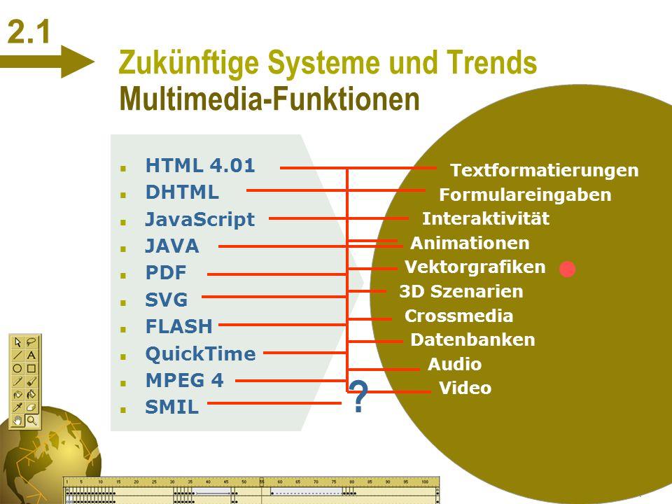 S. Müller 19.01.01 2 Zukünftige Systeme und Trends Web-Standards n Erweiterung der Standards um Multimedia-Funktionen n Vielzahl von Spezialwerkzeugen