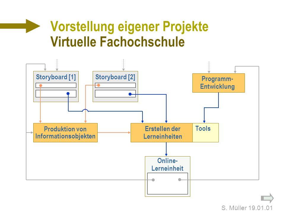 S. Müller 19.01.01 Vorstellung eigener Projekte Virtuelle Fachochschule n Arbeitsbereich: Programmentwicklung Gestaltung und Produktion n 8 Lernmodule