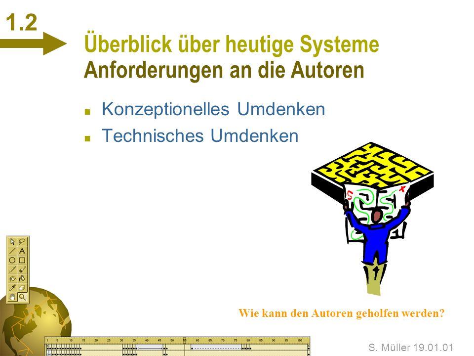 S. Müller 19.01.01 1.1 Überblick über heutige Systeme Elektronisches Online-Publizieren n Schnell n Kostengünstig n Nutzung zusätzlicher Medien n Inte