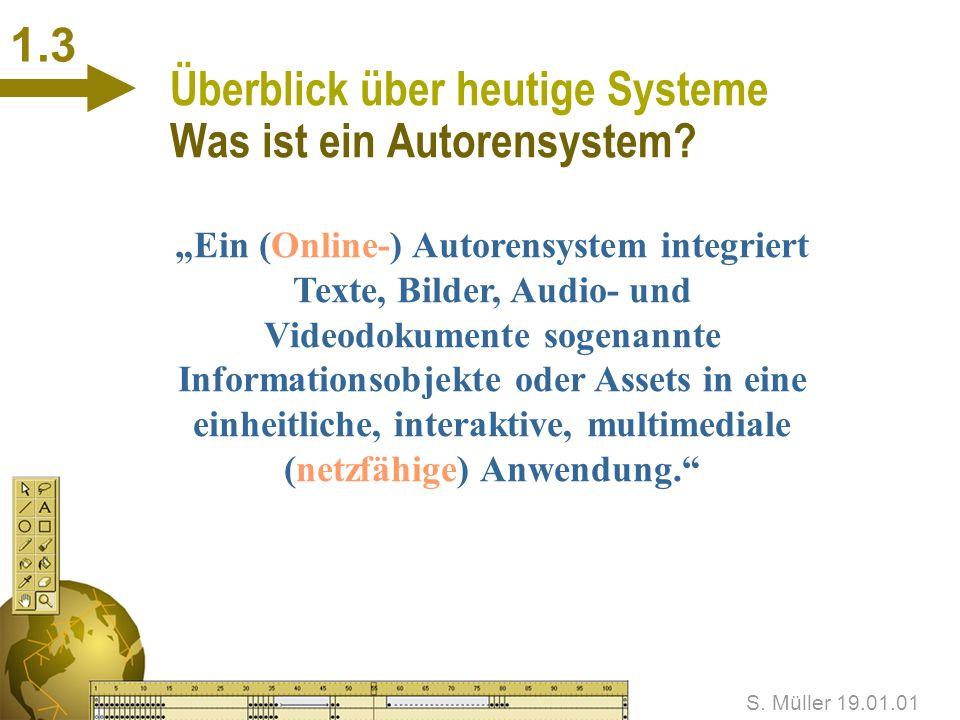 S. Müller 19.01.01 1.2 Überblick über heutige Systeme Anforderungen an die Autoren n Konzeptionelles Umdenken n Technisches Umdenken Wie kann den Auto