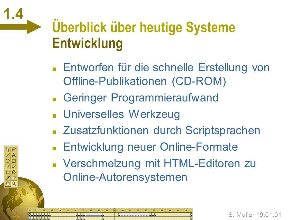 S.Müller 19.01.01 Überblick über heutige Systeme Was ist ein Autorensystem.