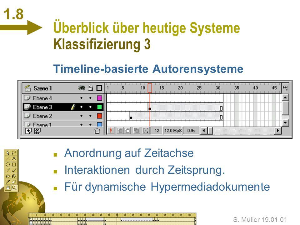 S. Müller 19.01.01 1.7 Überblick über heutige Systeme Klassifizierung 2 Frame-basierte Autorensysteme n Anordnung auf Flächen n Frames, Seiten, Fenste