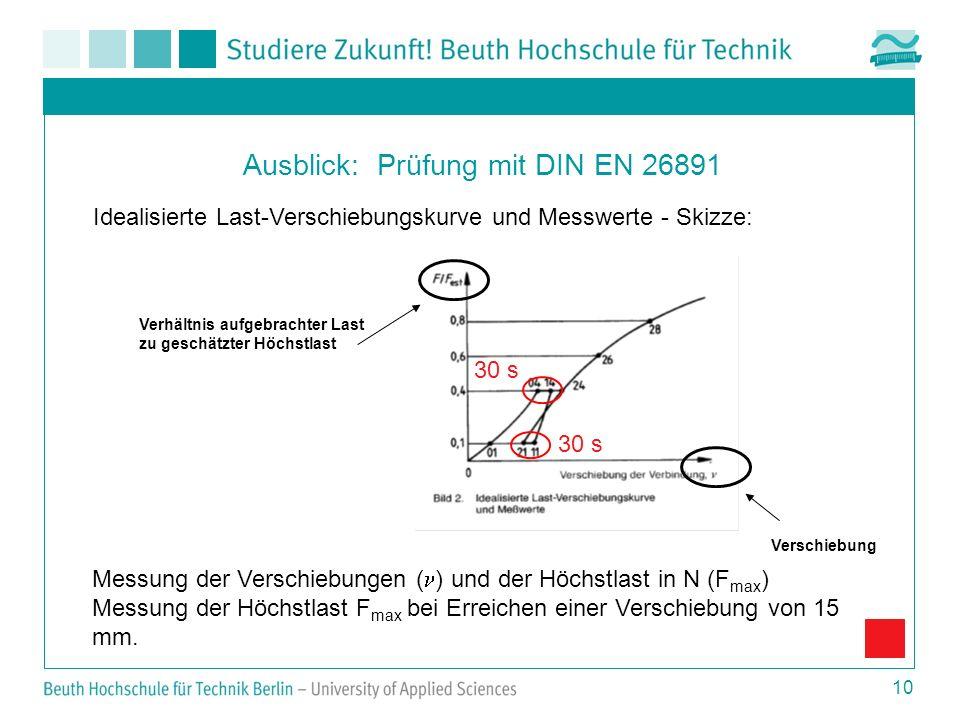 10 Ausblick: Prüfung mit DIN EN 26891 Messung der Verschiebungen ( ) und der Höchstlast in N (F max ) Messung der Höchstlast F max bei Erreichen einer