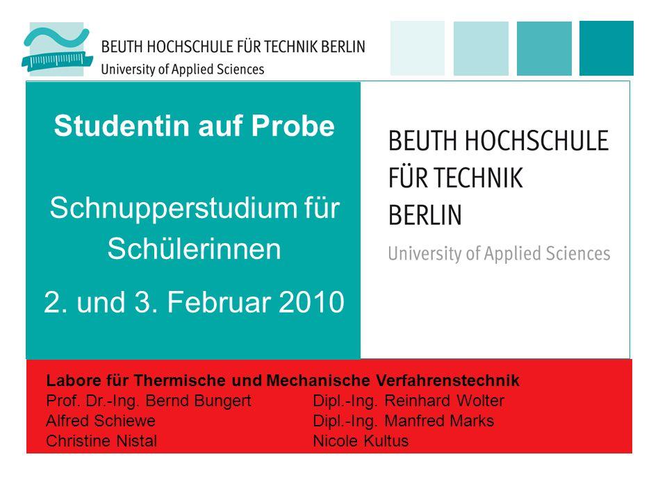 Studentin auf Probe Schnupperstudium für Schülerinnen 2. und 3. Februar 2010 Labore für Thermische und Mechanische Verfahrenstechnik Prof. Dr.-Ing. Be