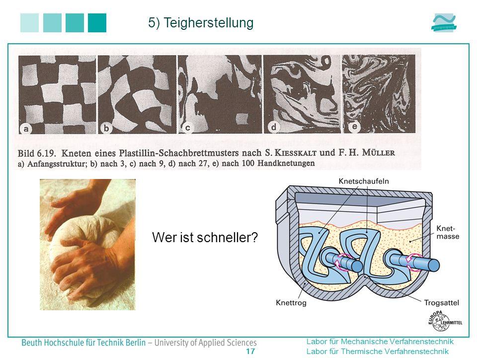Labor für Mechanische Verfahrenstechnik 17 Labor für Thermische Verfahrenstechnik 5) Teigherstellung Wer ist schneller?