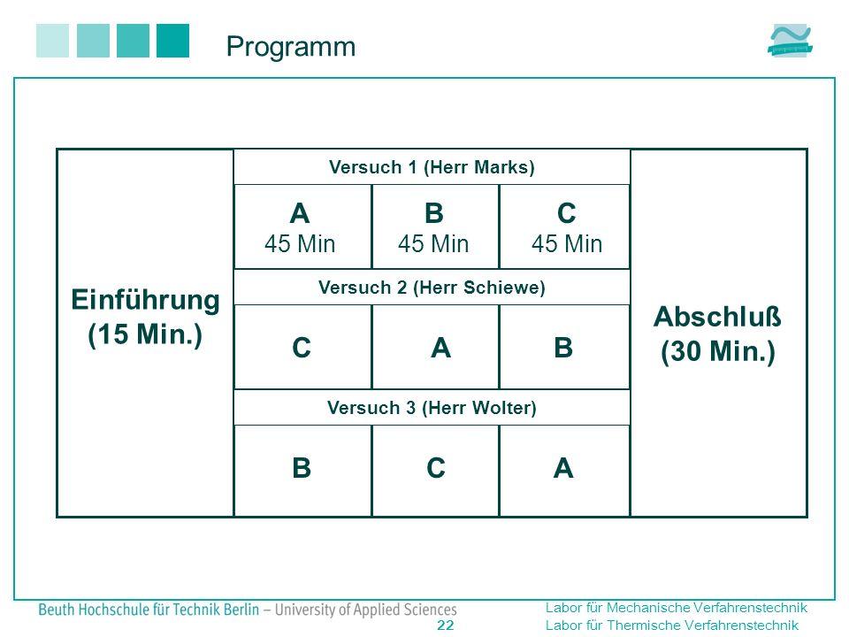 Labor für Mechanische Verfahrenstechnik 22 Labor für Thermische Verfahrenstechnik Programm Einführung (15 Min.)Ver Abschluß (30 Min.) A 45 Min A A B B