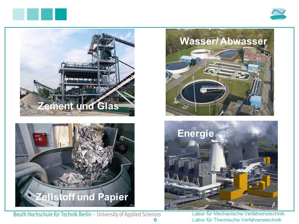 Labor für Mechanische Verfahrenstechnik 6 Labor für Thermische Verfahrenstechnik Zement und Glas Energie Zellstoff und Papier Wasser/ Abwasser Energie