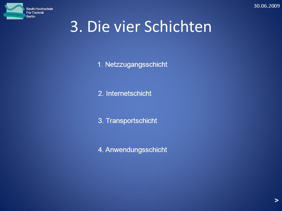 3. Die vier Schichten Beuth Hochschule Für Technik Berlin 2. Internetschicht 3. Transportschicht 1. Netzzugangsschicht > 4. Anwendungsschicht 30.06.20
