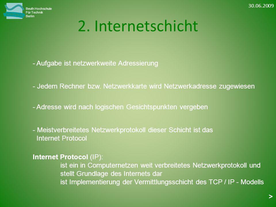 2. Internetschicht Beuth Hochschule Für Technik Berlin - Jedem Rechner bzw. Netzwerkkarte wird Netzwerkadresse zugewiesen - Adresse wird nach logische