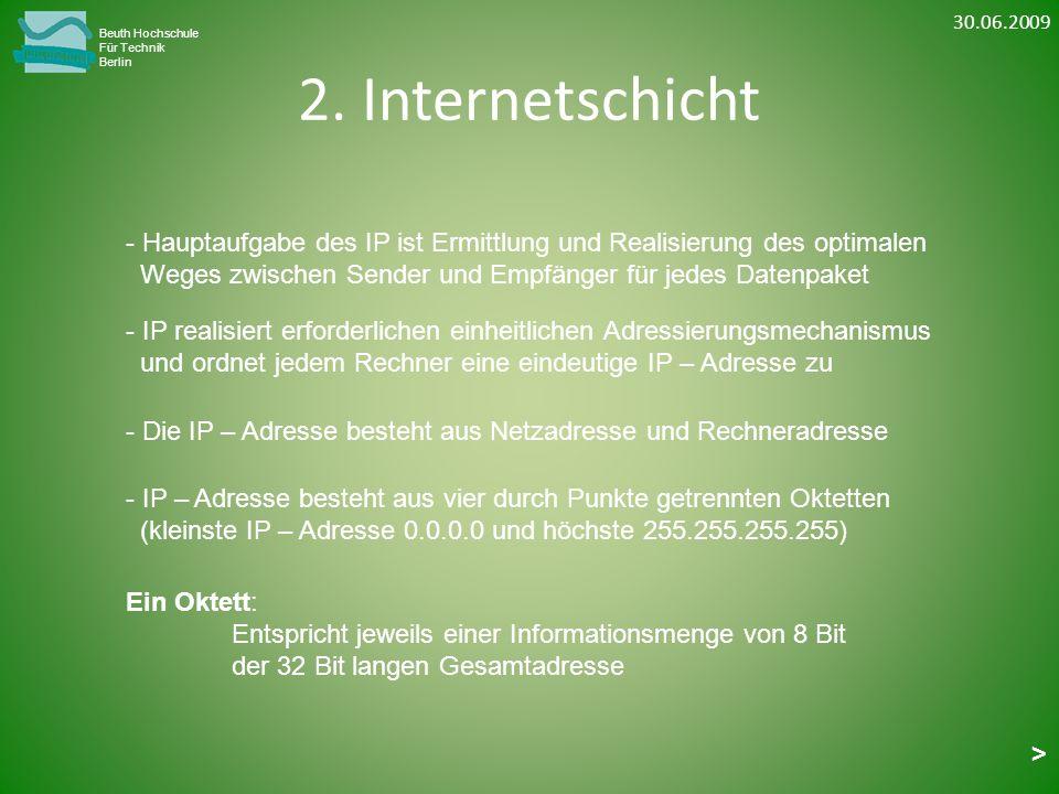 2. Internetschicht Beuth Hochschule Für Technik Berlin - IP realisiert erforderlichen einheitlichen Adressierungsmechanismus und ordnet jedem Rechner