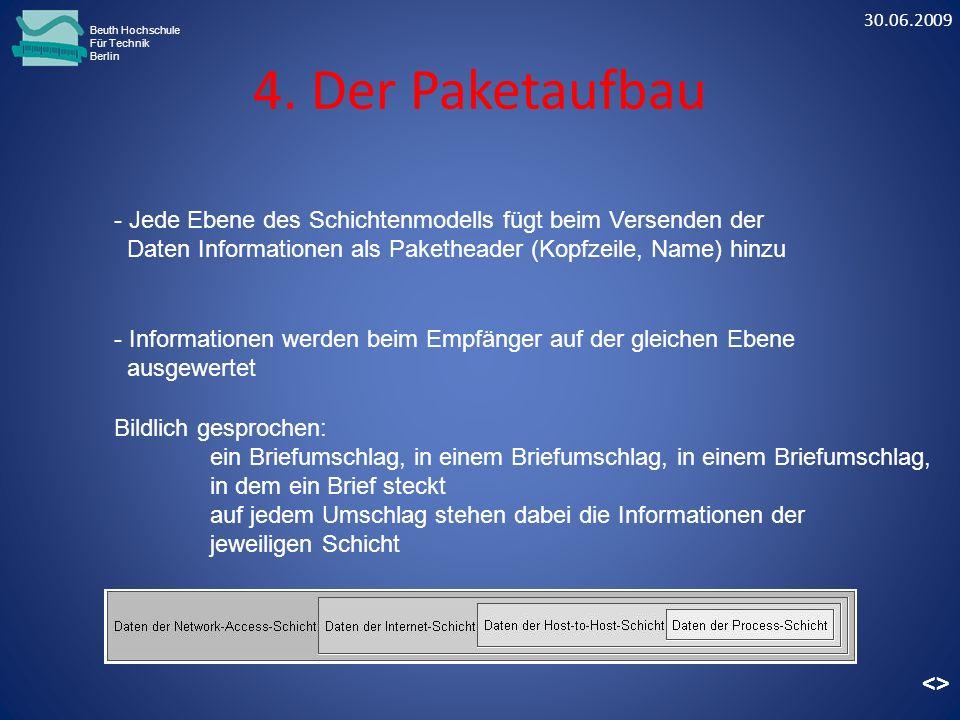 4. Der Paketaufbau Beuth Hochschule Für Technik Berlin - Informationen werden beim Empfänger auf der gleichen Ebene ausgewertet Bildlich gesprochen: e