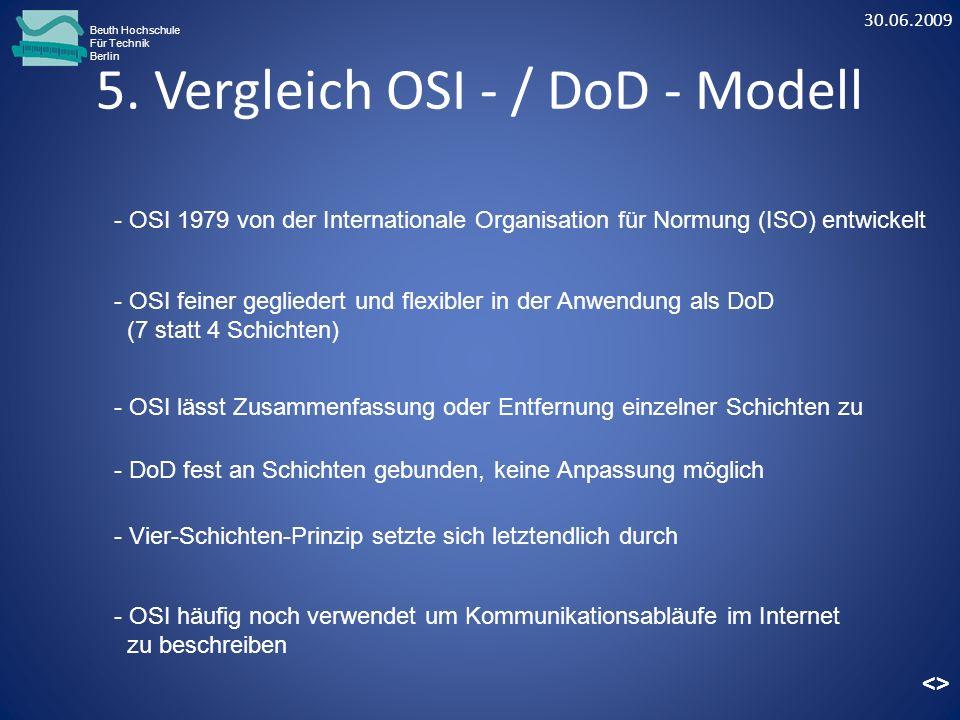 5. Vergleich OSI - / DoD - Modell Beuth Hochschule Für Technik Berlin - OSI feiner gegliedert und flexibler in der Anwendung als DoD (7 statt 4 Schich