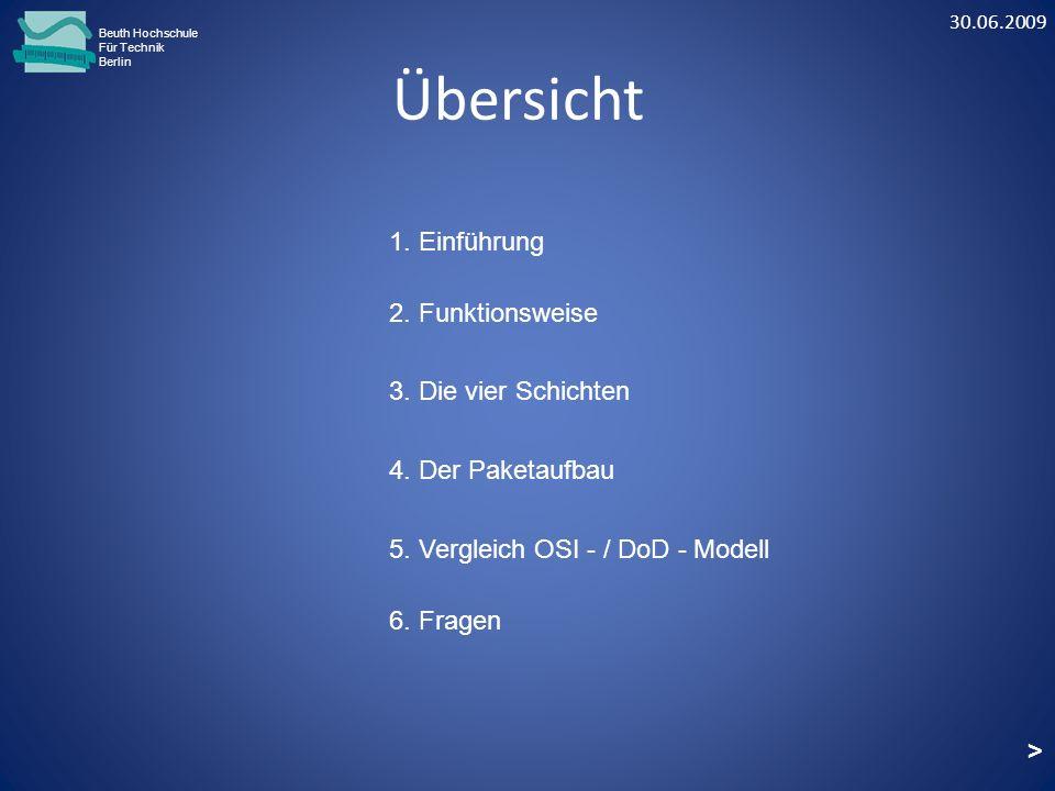 Übersicht Beuth Hochschule Für Technik Berlin 1. Einführung 2. Funktionsweise 3. Die vier Schichten 4. Der Paketaufbau 5. Vergleich OSI - / DoD - Mode