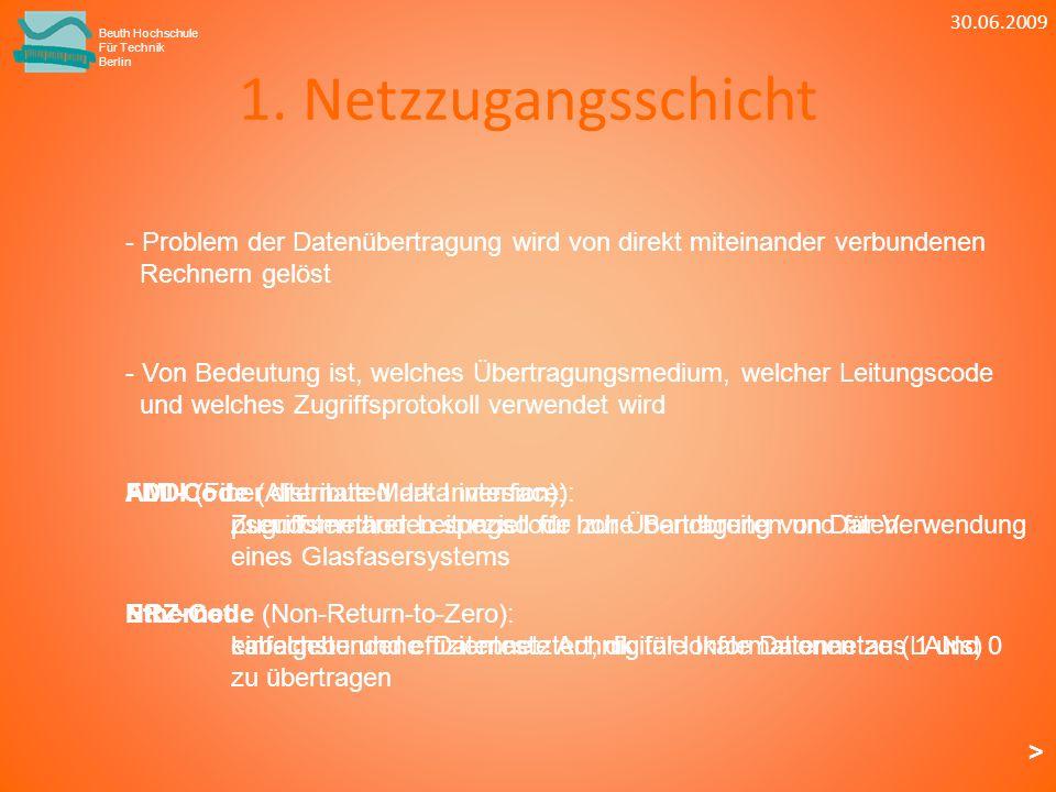 1. Netzzugangsschicht Beuth Hochschule Für Technik Berlin - Von Bedeutung ist, welches Übertragungsmedium, welcher Leitungscode und welches Zugriffspr