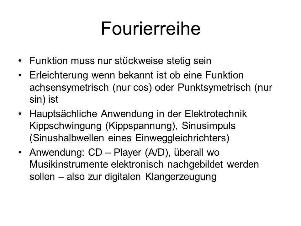 Fourierreihe Funktion muss nur stückweise stetig sein Erleichterung wenn bekannt ist ob eine Funktion achsensymetrisch (nur cos) oder Punktsymetrisch