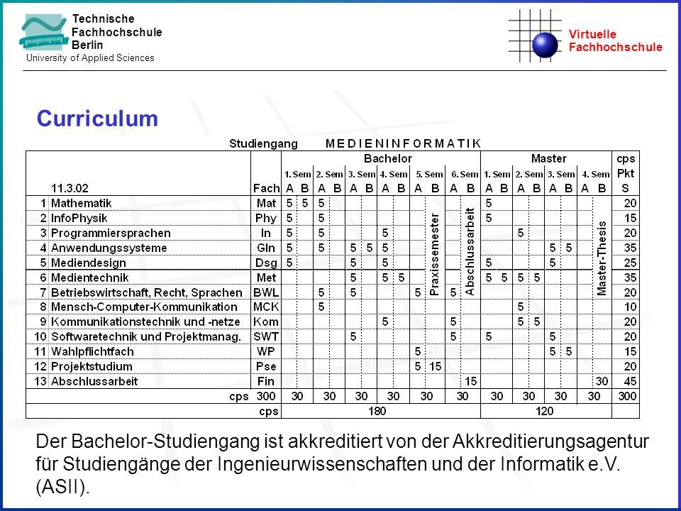 Virtuelle Fachhochschule Technische Fachhochschule Berlin University of Applied Sciences Curriculum Der Bachelor-Studiengang ist akkreditiert von der