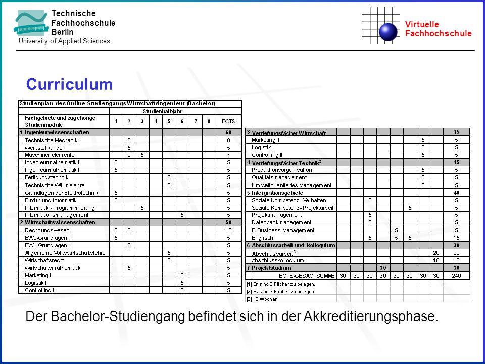 Virtuelle Fachhochschule Technische Fachhochschule Berlin University of Applied Sciences Curriculum Der Bachelor-Studiengang befindet sich in der Akkr