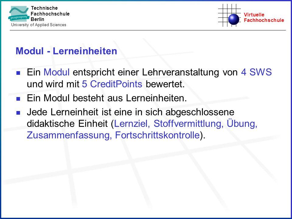 Virtuelle Fachhochschule Technische Fachhochschule Berlin University of Applied Sciences Modul - Lerneinheiten Ein Modul entspricht einer Lehrveransta