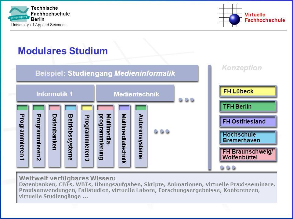 Virtuelle Fachhochschule Technische Fachhochschule Berlin University of Applied Sciences Beispiel: Studiengang Medieninformatik Informatik 1 Weltweit