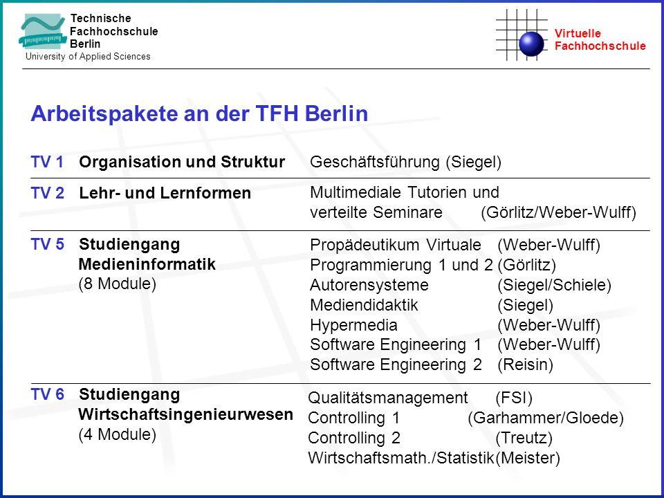 Virtuelle Fachhochschule Technische Fachhochschule Berlin University of Applied Sciences TV 1 Organisation und Struktur TV 2 Lehr- und Lernformen TV 5