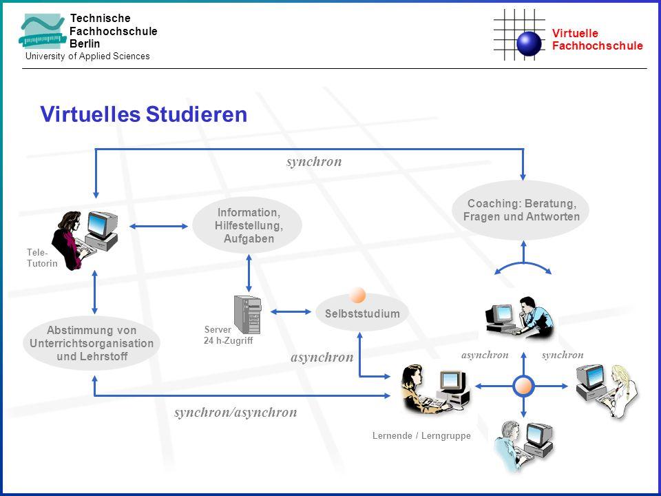 Virtuelle Fachhochschule Technische Fachhochschule Berlin University of Applied Sciences Virtuelles Studieren Coaching: Beratung, Fragen und Antworten
