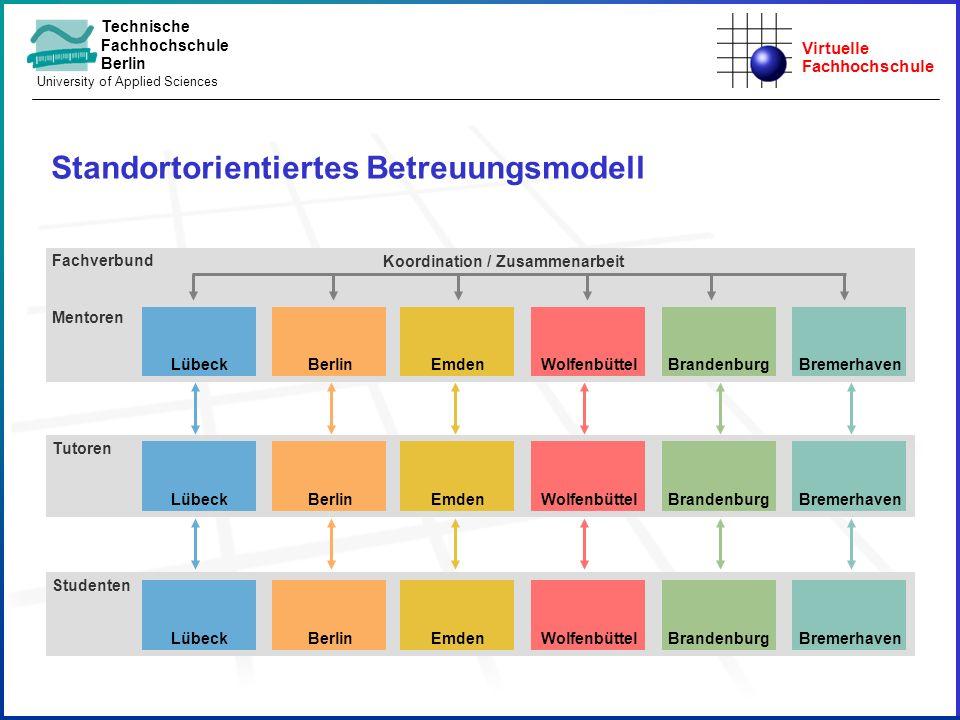 Virtuelle Fachhochschule Technische Fachhochschule Berlin University of Applied Sciences Standortorientiertes Betreuungsmodell Studenten Tutoren Fachv