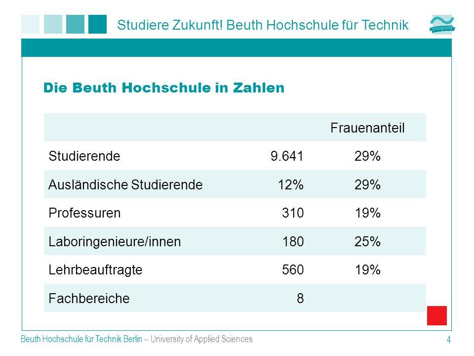 Studiere Zukunft! Beuth Hochschule für Technik Beuth Hochschule für Technik Berlin – University of Applied Sciences 4 Frauenanteil Studierende9.64129%