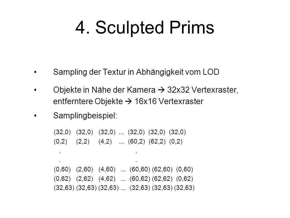 Sampling der Textur in Abhängigkeit vom LOD Objekte in Nähe der Kamera 32x32 Vertexraster, entferntere Objekte 16x16 Vertexraster Samplingbeispiel: (32,0) (32,0) (32,0)...