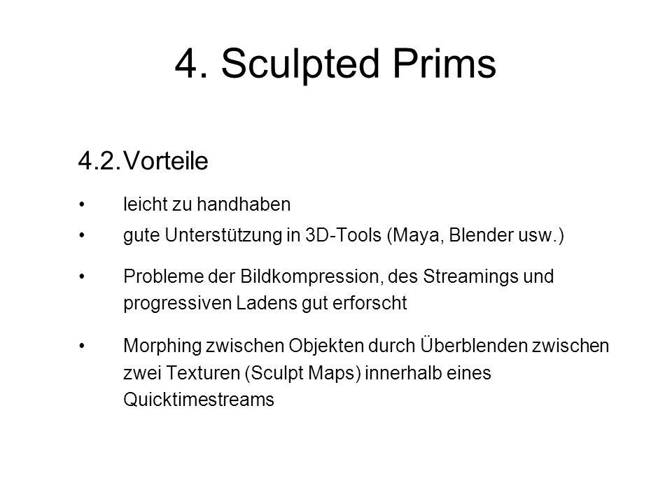 4. Sculpted Prims 4.2.Vorteile leicht zu handhaben gute Unterstützung in 3D-Tools (Maya, Blender usw.) Probleme der Bildkompression, des Streamings un