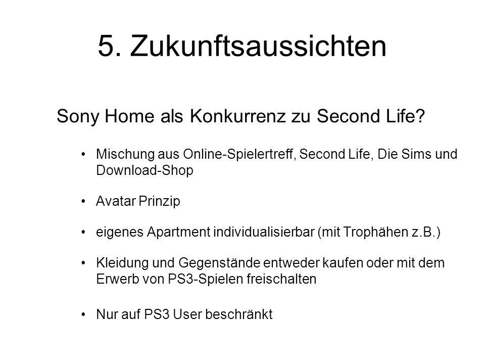 5. Zukunftsaussichten Sony Home als Konkurrenz zu Second Life.