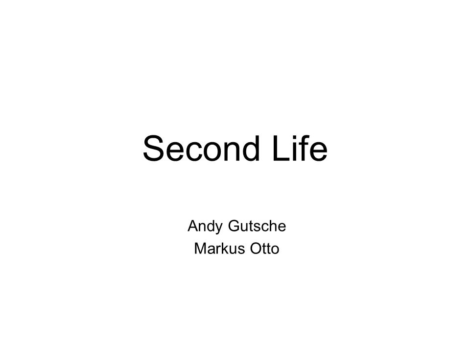 Second Life Andy Gutsche Markus Otto