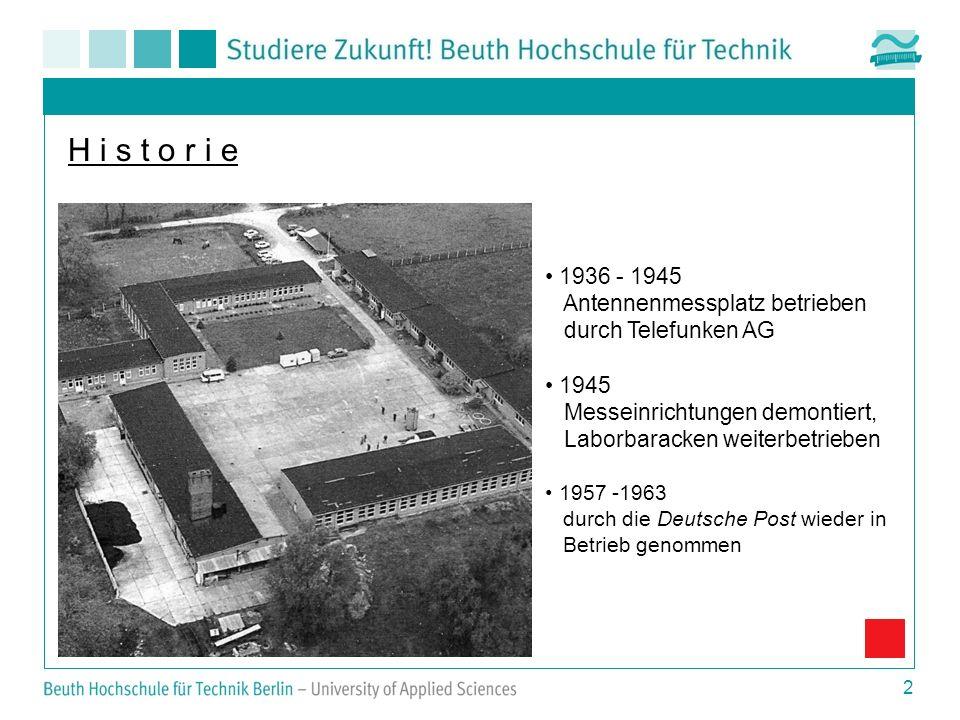 2 H i s t o r i e 1936 - 1945 Antennenmessplatz betrieben durch Telefunken AG 1945 Messeinrichtungen demontiert, Laborbaracken weiterbetrieben 1957 -1963 durch die Deutsche Post wieder in Betrieb genommen