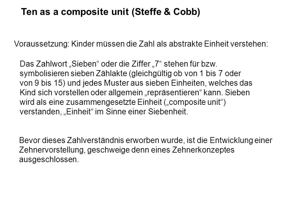 Ten as a composite unit (Steffe & Cobb) Voraussetzung: Kinder müssen die Zahl als abstrakte Einheit verstehen: Das Zahlwort Sieben oder die Ziffer 7 s