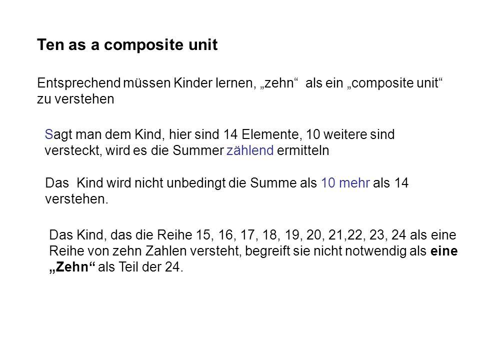 Ten as a composite unit Entsprechend müssen Kinder lernen, zehn als ein composite unit zu verstehen Sagt man dem Kind, hier sind 14 Elemente, 10 weite