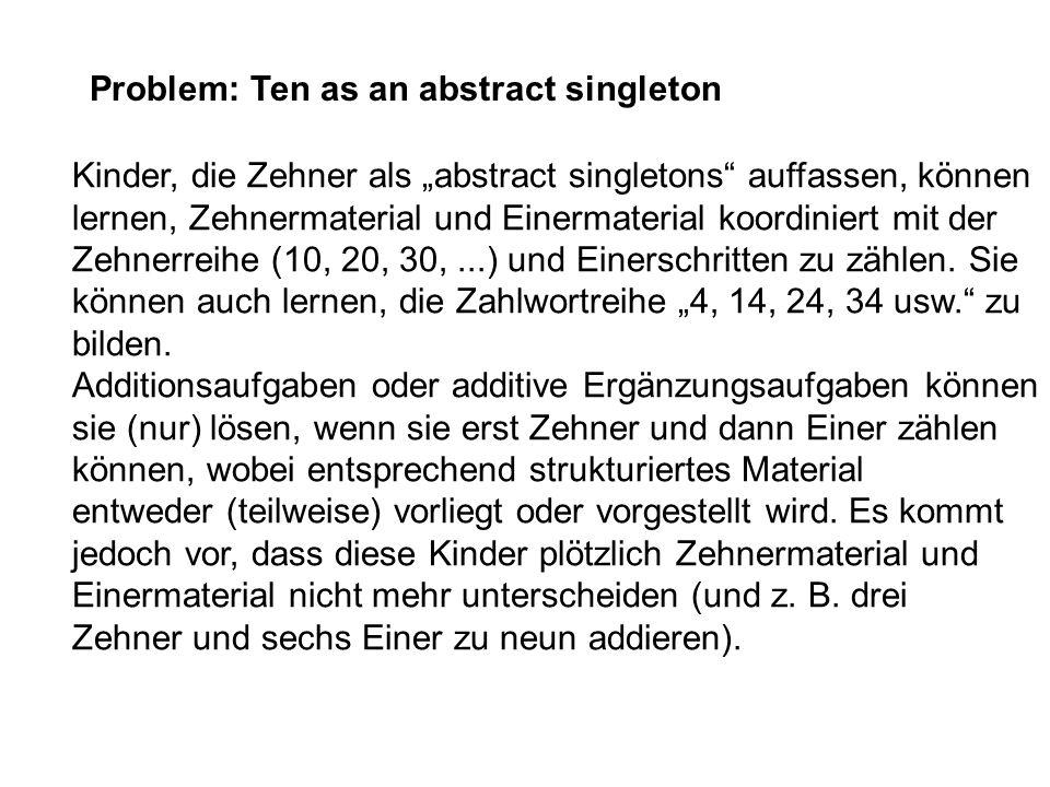 Problem: Ten as an abstract singleton Kinder, die Zehner als abstract singletons auffassen, können lernen, Zehnermaterial und Einermaterial koordinier