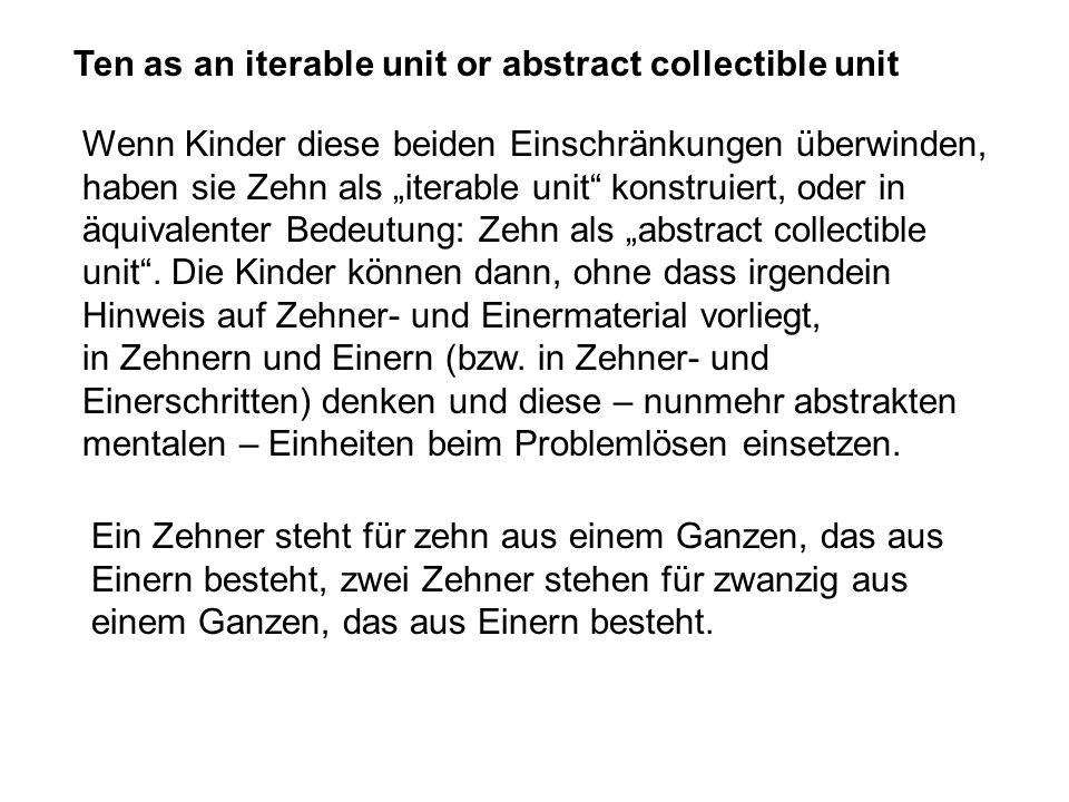 Ten as an iterable unit or abstract collectible unit Wenn Kinder diese beiden Einschränkungen überwinden, haben sie Zehn als iterable unit konstruiert