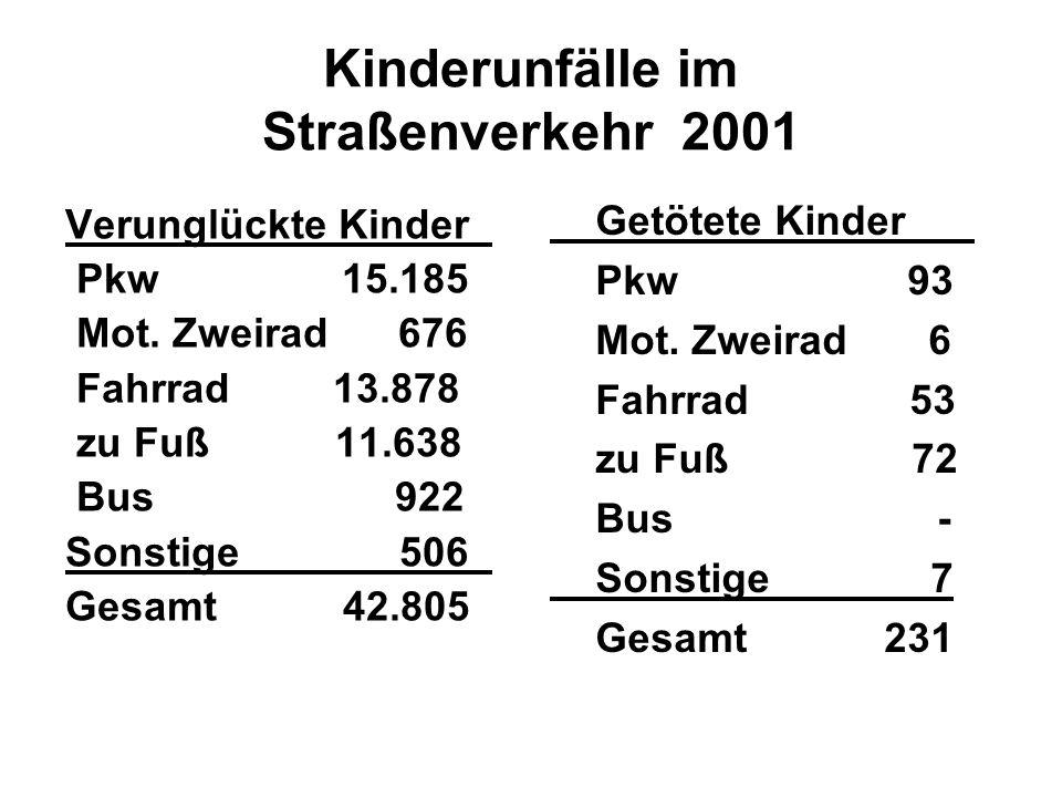 Kinderunfälle im Straßenverkehr 2001 Verunglückte Kinder_ Pkw 15.185 Mot. Zweirad 676 Fahrrad 13.878 zu Fuß 11.638 Bus 922 Sonstige 506_ Gesamt 42.805