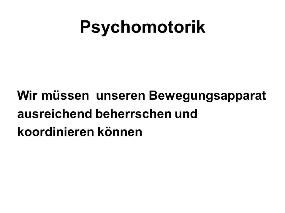 Psychomotorik Wir müssen unseren Bewegungsapparat ausreichend beherrschen und koordinieren können