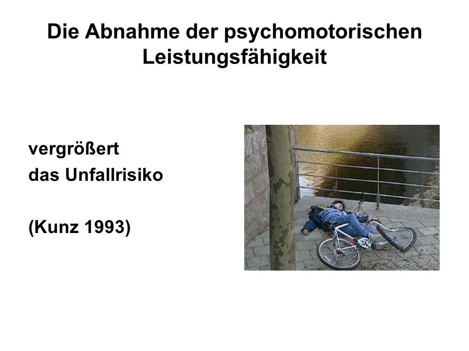 Die Abnahme der psychomotorischen Leistungsfähigkeit vergrößert das Unfallrisiko (Kunz 1993)