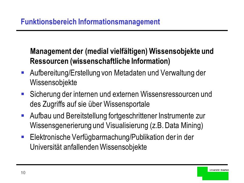 Universität Bielefeld 10 Funktionsbereich Informationsmanagement Management der (medial vielfältigen) Wissensobjekte und Ressourcen (wissenschaftliche