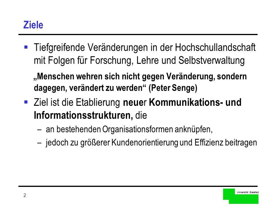 Universität Bielefeld 2 Ziele Tiefgreifende Veränderungen in der Hochschullandschaft mit Folgen für Forschung, Lehre und Selbstverwaltung Menschen weh