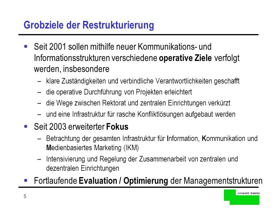 Universität Bielefeld 5 Grobziele der Restrukturierung Seit 2001 sollen mithilfe neuer Kommunikations- und Informationsstrukturen verschiedene operati