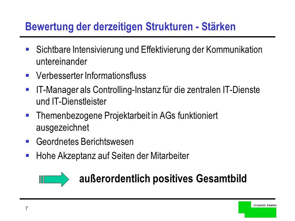 Universität Bielefeld 7 Bewertung der derzeitigen Strukturen - Stärken Sichtbare Intensivierung und Effektivierung der Kommunikation untereinander Ver