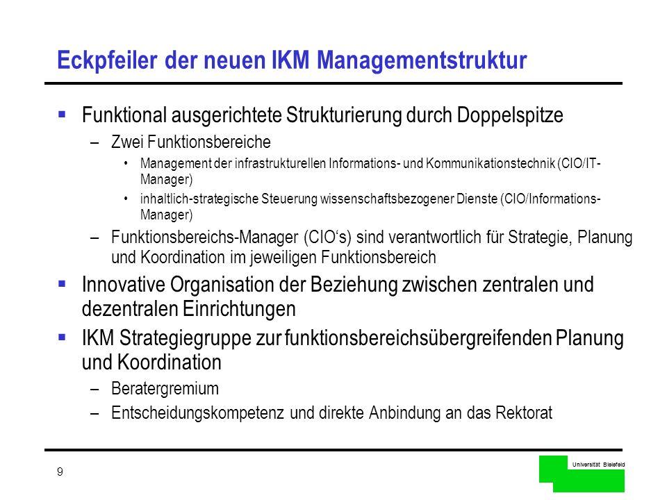 Universität Bielefeld 9 Eckpfeiler der neuen IKM Managementstruktur Funktional ausgerichtete Strukturierung durch Doppelspitze –Zwei Funktionsbereiche