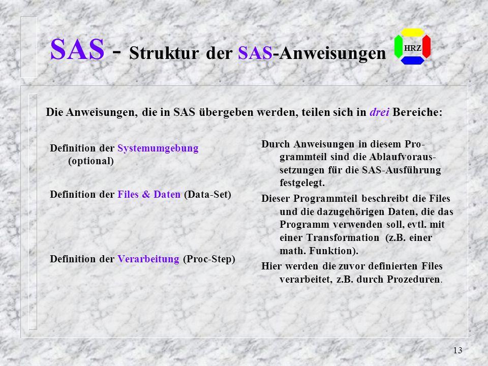 12 SAS - Operationsarten HRZ SAS unterscheidet 4 Arten von Operationen: 1. Überprüfung der SAS-Anweisungen auf Syntaxfehler 2. Syntaxprüfung und Ausfü