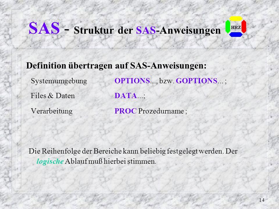 13 Durch Anweisungen in diesem Pro- grammteil sind die Ablaufvoraus- setzungen für die SAS-Ausführung festgelegt. Dieser Programmteil beschreibt die F