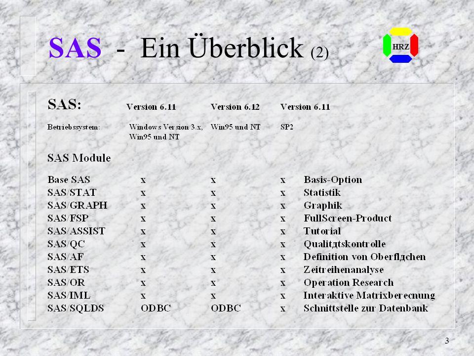 2 SAS - Ein Überblick (1) n Statistical Analysis System n Statistische Datenanalyse in der EDV n Integriertes System von Computerpro- grammen auf unte