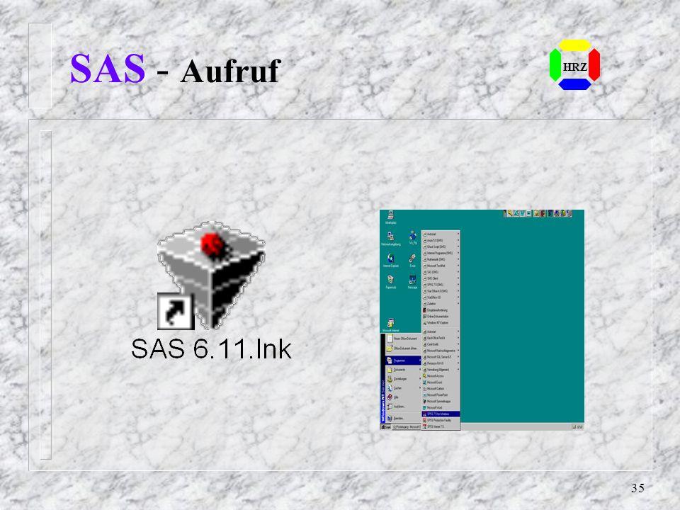 34 HRZ SAS - Prozeduren (5) n Ökonometrie und Zeitreihenanalyse: – TIMEPLOT Druckerplot über mehrere Zeitintervale – CITIBASE kopiert Daten vom CITIBA